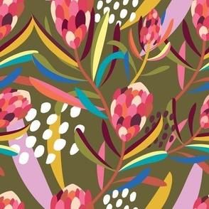 Abstract Protea Khaki - Christie Williams for Nerida Hansen