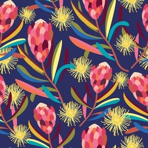 Protea Gum Flowers Navy - Christie Williams for Nerida Hansen