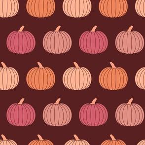 Jewel Tones Fall Pumpkins in Burgundy Purple Pink Orange Halloween