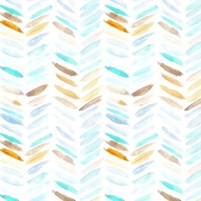 Mint and chocolate watercolor chevron - painted geometrical brush strokes - herringbone for modern home decor nursery a462-1