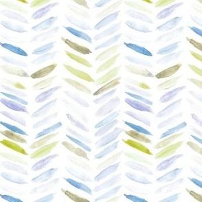 Mustard and blue watercolor chevron - painted geometrical brush strokes - herringbone for modern home decor nursery a462-2