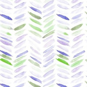Amethyst and kelly green watercolor chevron - painted geometrical brush strokes - herringbone for modern home decor nursery a462-4
