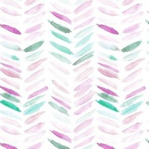 Mint and raspberry watercolor chevron - painted geometrical brush strokes - herringbone for modern home decor nursery a462-5