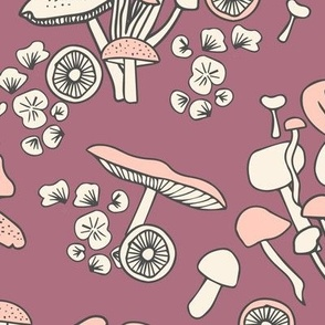 Mushrooms Bouquets on Purple Fungi Forest Woodland Cottagecore