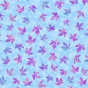 Purple and Rose Pink Scattered Maple Leaves on Light Blue