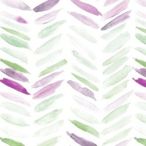 Mint and plum watercolor chevron - painted geometrical brush strokes - herringbone for modern home decor nursery a462-7