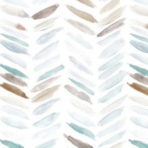 Earthy and serenity neutral watercolor chevron - painted geometrical brush strokes - herringbone for modern home decor nursery a462-8
