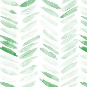 Kelly green watercolor chevron - painted geometrical brush strokes - herringbone for modern home decor nursery a462-11
