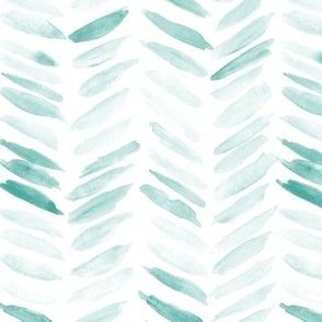 Emerald watercolor chevron - painted geometrical brush strokes - herringbone for modern home decor nursery a462-12