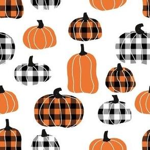 LARGE plaid pumpkins - thanksgiving fall fabric - white
