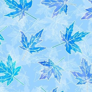 Turquoise Scattered Maple Leaves on Light Blue