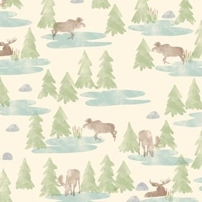 Watercolor Woodland Forest Moose in Cream