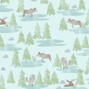Watercolor Woodland Forest Moose in Blue