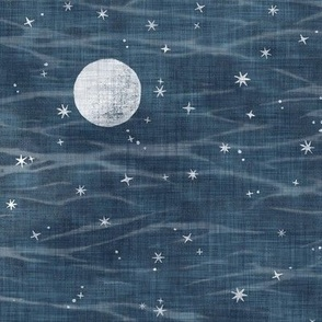 Misty Night Sky - Full Moons on Dark Indigo (large scale)   Night sky fabric, block printed moons and stars on linen pattern and arashi shibori, pole wrapping tie-dye, constellations, dark blue, navy, blue and white.