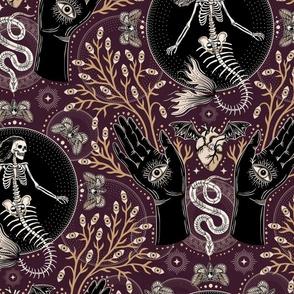 Phantasmagoria - Mermaid skeleton, hands, eyes, snake, scary plants and moths - large - plum