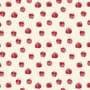 Small Watercolor Red Apples on Cream Fall Back to school