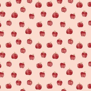 Small Watercolor Red Apples on Peach Fall Back to school