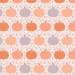 Small Orange and Gray Pumpkins with Foliage Fall Halloween