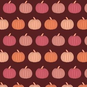 Small Jewel Tones Fall Pumpkins in Burgundy Purple Pink Orange Halloween