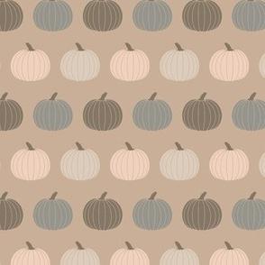 Small Cottagecore Pumpkins Neutral Farmhouse Halloween Green Gray Beige