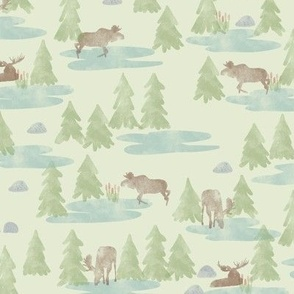 Watercolor Woodland Forest Moose in Green