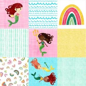 Watercolor Mermaid Rainbow Girls Wholecloth