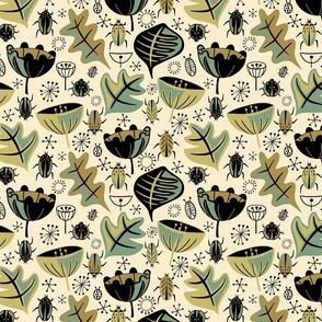 Retro Beetle Garden - Moss - Medium