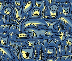 Wild Australian Night - medium scale - Australia, wild animals, wildlife, nocturnal animals