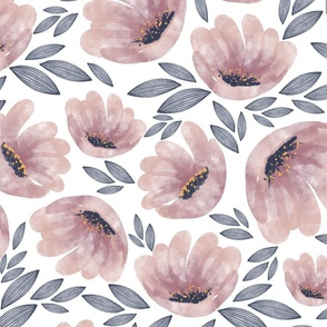 watercolor flowers and striped leaves - large