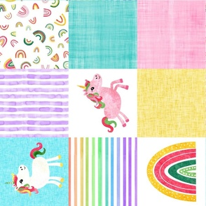 Watercolor Unicorn Cheater Quilt Rotated