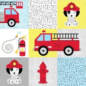 Dalmatian dog firetruck cheater quilt