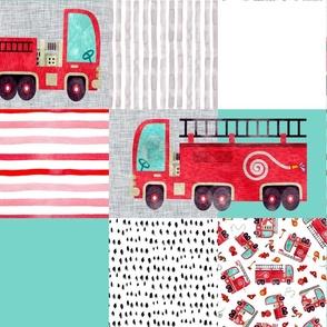 firetruck watercolor cheater quilt