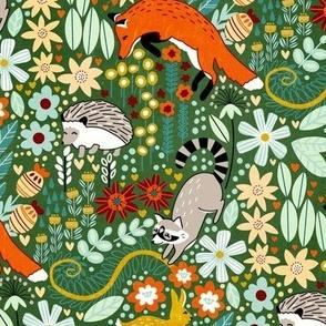 Textured Woodland Pattern - Forest Green - Medium Scale