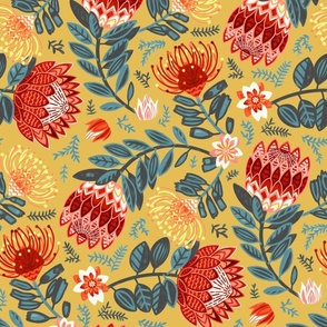 Non-Directional Protea Chintz - Mustard - Large Scale