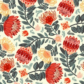 Non-Directional Protea Chintz - Red & Grey - Large Scale