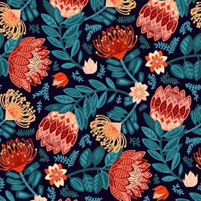 Non-Directional Protea Chintz - Large Scale