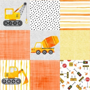 Construction Cheater Watercolor Wholecloth