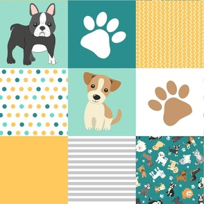 Cute Dogs Whole Cloth Cheater Quilt