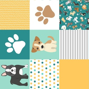 Cute Dogs Whole Cloth Cheater Quilt Rotated