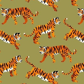 Bengal Tigers - Olive Green - Medium Scale