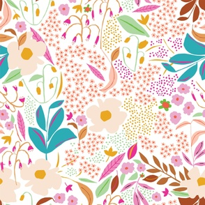 Giant retro florals in brights and white