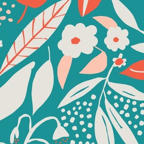 Giant retro florals in turquoise