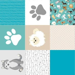 Puppy Whole Cloth Cheater Quilt Rotated