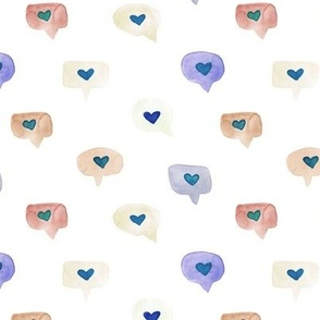 love messages - watercolor sweet hearts - saint valentines romantic lovely a464-5