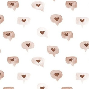 Beige love messages - watercolor sweet hearts - saint valentines romantic lovely a464-7