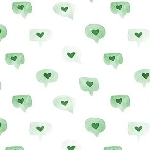 Kelly green love messages - watercolor sweet hearts - saint valentines romantic lovely a464-9