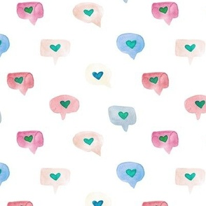 love messages - watercolor sweet hearts - saint valentines romantic lovely a464-4