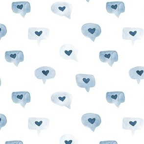 love messages in blue - watercolor sweet hearts - saint valentines romantic lovely a464-11