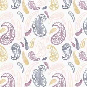 watercolour paisley drop - medium