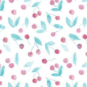 So very cherry - watercolor cherries - summer pastel fruits - sweet berries a441